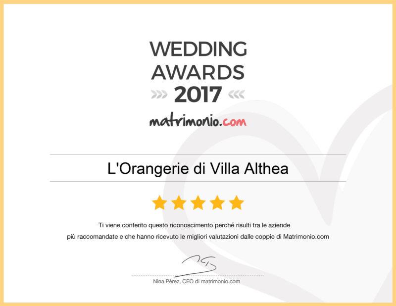 L'Orangerie di Villa Althea riceve uno dei premi Wedding Awards 2017